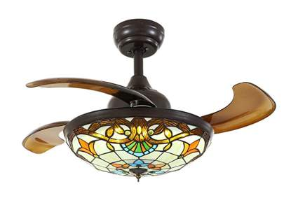 tiffany style ceiling fan with retractable blades
