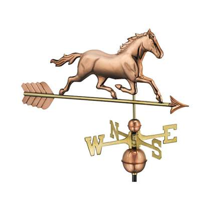 copper trotting horse weathervane