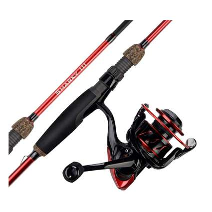 red fishing rod and reel set