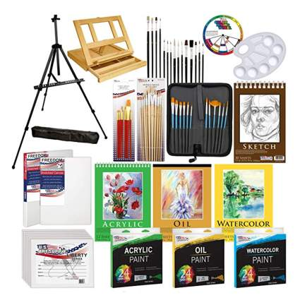 133 piece painting kit with easel