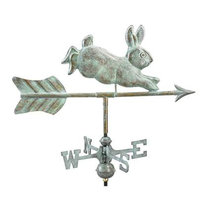 verdigris copper rabbit weathervane with garden pole