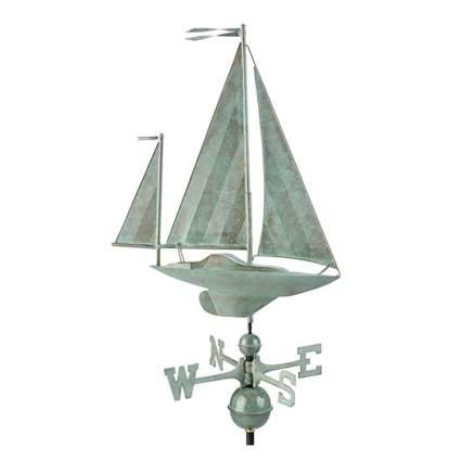 verdigris copper sailboat weathervane