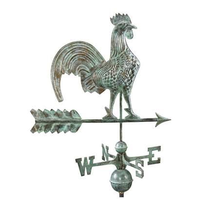 verdigris rooster weathervane