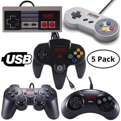 Vilros Retro Gaming 5 USB Classic Controller Set