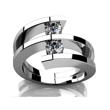 white gold two diamond anniversary ring