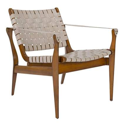 wood and white woven leather safari chair