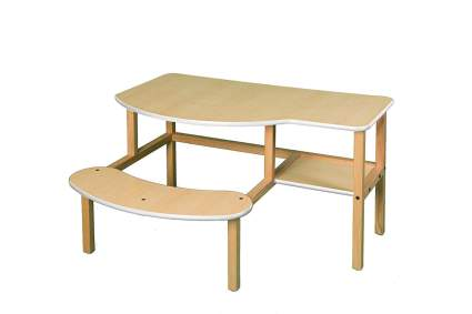 Wooden desk for two with built-in seat