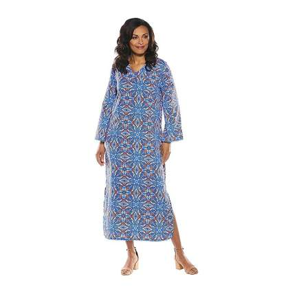 plue and white print tangier kaftan
