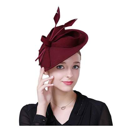 burgundy pillbox fascinator hat