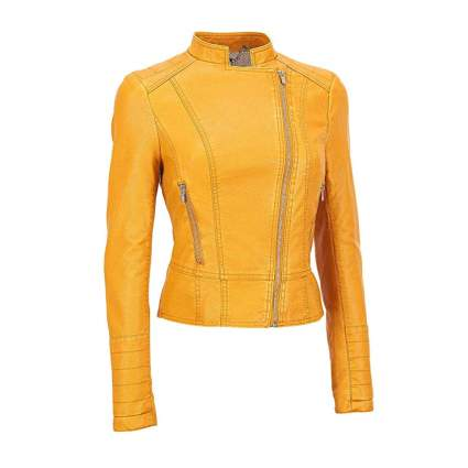 yellow lambskin leather moto jacket
