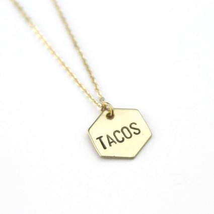 Tacos Brass Hexagon Stamped Geometric