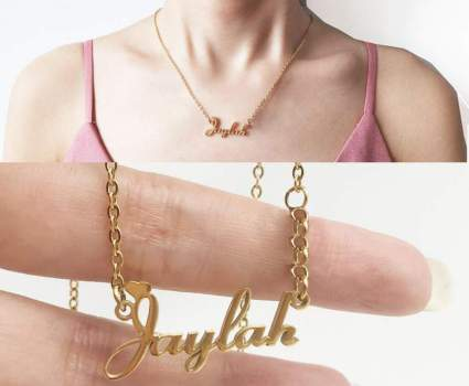 10K Solid Gold Name Necklace Personalized