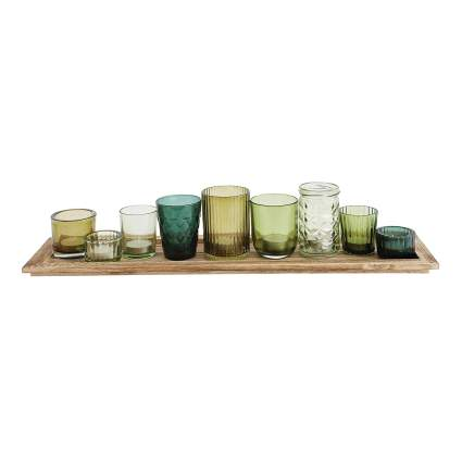 Creative Co-op Wood Tray with 9 Unique Glass Votive Canlde Holders