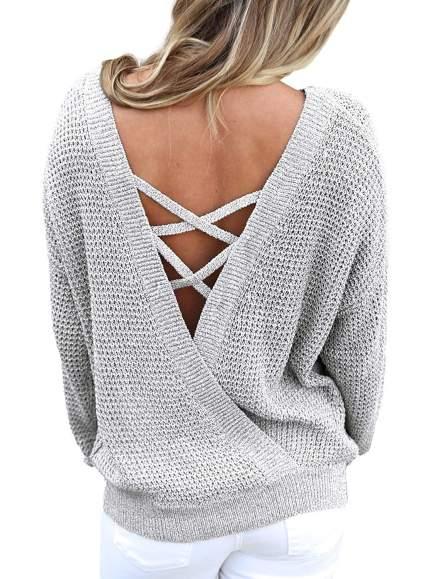Women's Long Sleeve Criss Cross V Neck Knitted Sweater