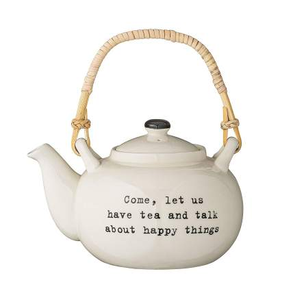 """Bloomingville""""Come, let us have tea and talk about happy things"""" Tea Pot"""