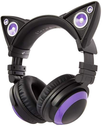 Brookstone Wired Purple Cat Ear Headphones with External Speakers