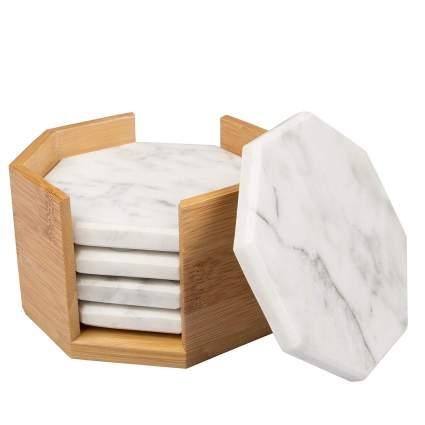 White Carrara Marble Coasters