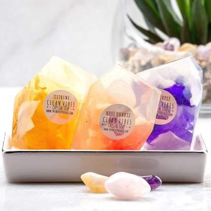 A Real Gemstone Crystal In Vegan Soap