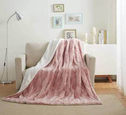 Tache 50x60 Faux Fur Blush Blanket