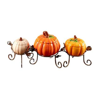 Three pumpkin shaped candy dishes