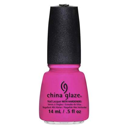 Hot pink nail polish bottle
