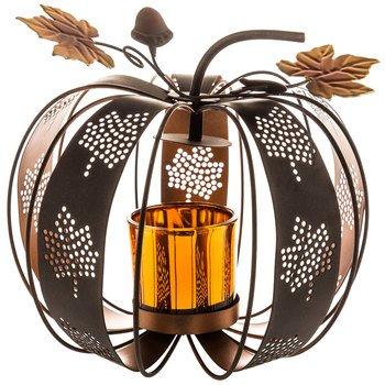 Metal pumpkin shaped candle holder