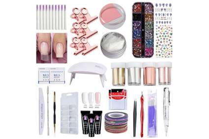 Nail extension set with lamp