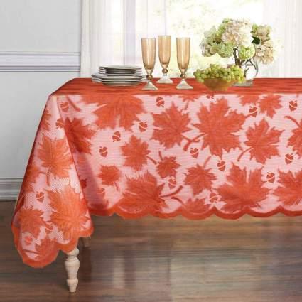 Orange leaves tablecloth