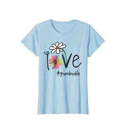 baby blue love grandma life tee shirt