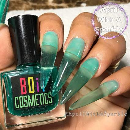 teal see through nails