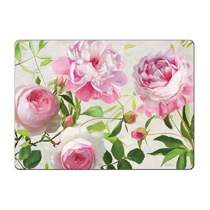 pink roses printed hardboard placemats