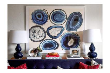 Wall print of many blue geodes
