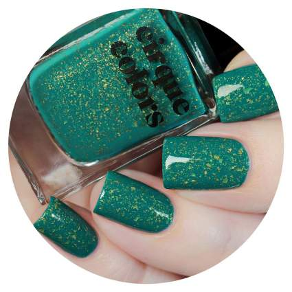 Green nail polish with gold flecks