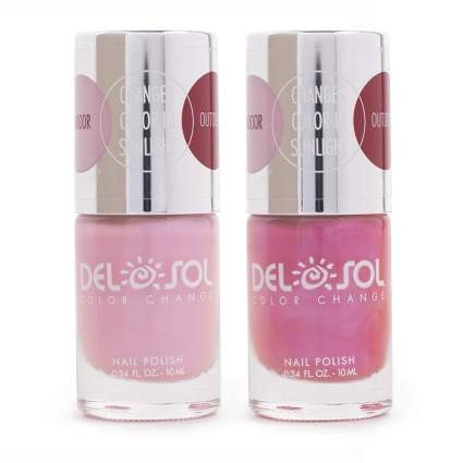 Pink and dark pink bottles of nail polish