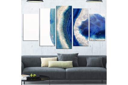 5 wall art panels with absract geode print
