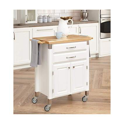 white rolling kitchen cart with butcher block top