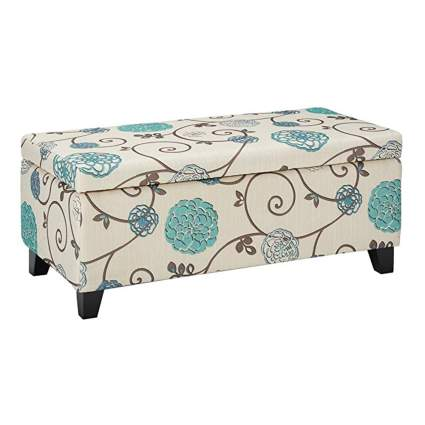 floral fabric storage ottoman