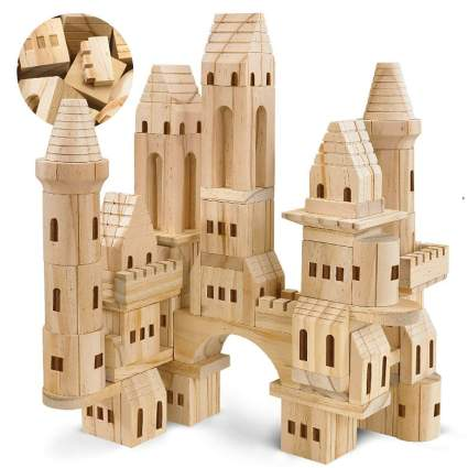 FAO Schwarz {75Piece Set} Wooden Castle Building Blocks Set
