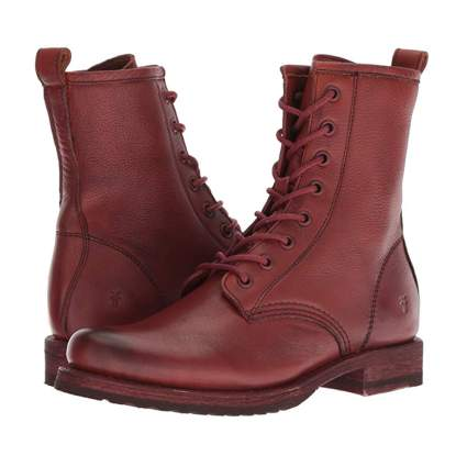 red leather combat boots