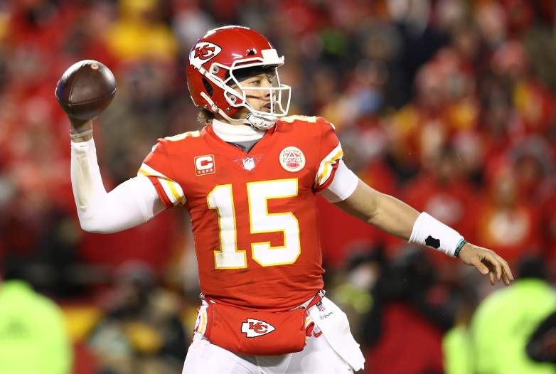 Kansas City Chiefs quarterback Patrick Mahomes showed off his arm by launching a ball out of Arrowhead Stadium from the field on Friday.
