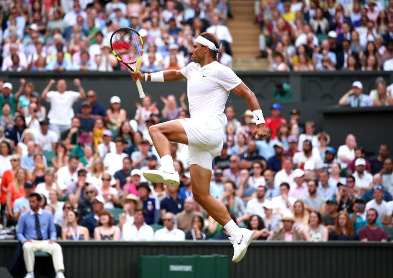 Rafael Nadal got by a highly volatile Nick Kyrgios in a spirited second round match at Wimbledon on Thursday.