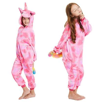 pink fleece unicorn onesie
