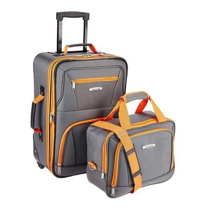 gray and orange two piece luggage set