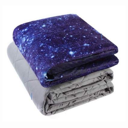 Weighted blanket with galaxy print
