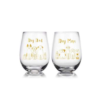 JoyXpress dog mom dog dad wine glasses gifts for dog lovers