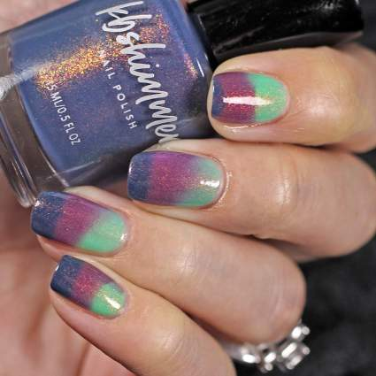 Tri color nail polish with green purple and blue