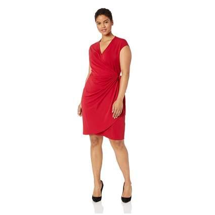 red plus size wrap dress