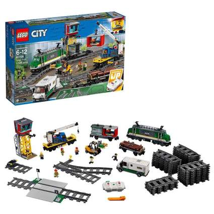 LEGO City Cargo Train Remote Control Train Building Set with Tracks
