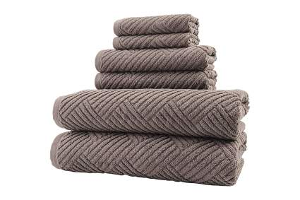 Basket weave brown towels