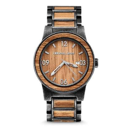 brushed stainless and wood men's watch